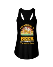 Holding A Beer So Yeah I'm Pretty Busy Fathers Day Ladies Flowy Tank thumbnail