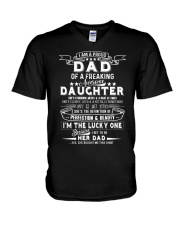 I'm A Proud Dad Freaking Awesome Daughter V-Neck T-Shirt thumbnail