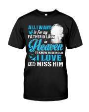 I Miss My Father in Law in Heaven Father's Day Classic T-Shirt front