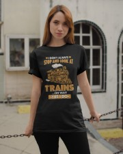 Stop Look at Trains Funny Gift for Men Women Classic T-Shirt apparel-classic-tshirt-lifestyle-19