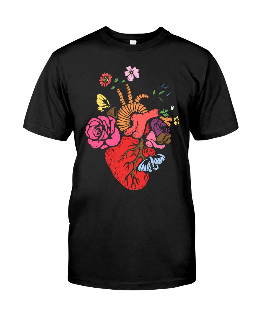 Anatomical Heart and Flowers T-Shirt For Women Men Classic T-Shirt