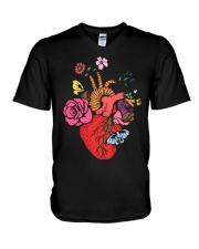Anatomical Heart and Flowers T-Shirt For Women Men V-Neck T-Shirt thumbnail