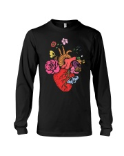 Anatomical Heart and Flowers T-Shirt For Women Men Long Sleeve Tee thumbnail