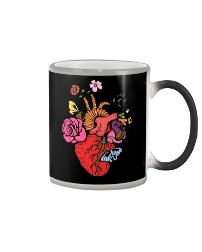 Anatomical Heart and Flowers T-Shirt For Women Men