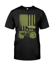 Funny Patriotic Tractor American FlagTractor Farm Classic T-Shirt front