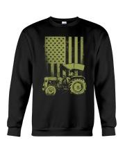 Funny Patriotic Tractor American FlagTractor Farm Crewneck Sweatshirt thumbnail