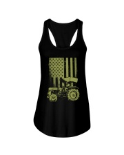 Funny Patriotic Tractor American FlagTractor Farm Ladies Flowy Tank thumbnail