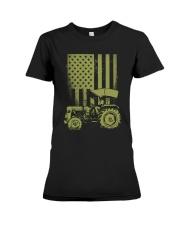 Funny Patriotic Tractor American FlagTractor Farm Premium Fit Ladies Tee thumbnail