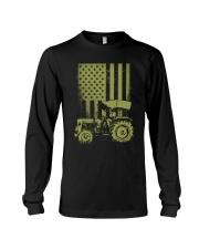Funny Patriotic Tractor American FlagTractor Farm Long Sleeve Tee thumbnail