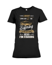 In My Head I'm Fishing Funny Fathers Day Premium Fit Ladies Tee thumbnail