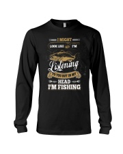In My Head I'm Fishing Funny Fathers Day Long Sleeve Tee thumbnail