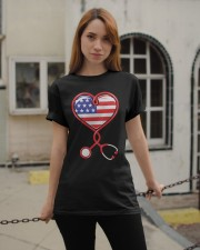 Patriotic Nurse USA Flag Shirt Nursing 4th July  Classic T-Shirt apparel-classic-tshirt-lifestyle-19