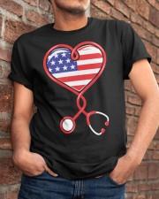 Patriotic Nurse USA Flag Shirt Nursing 4th July  Classic T-Shirt apparel-classic-tshirt-lifestyle-26