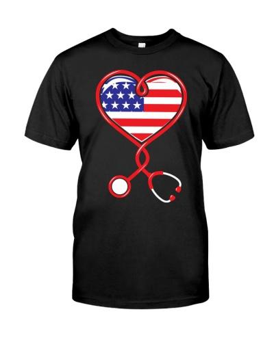 Patriotic Nurse USA Flag Shirt Nursing 4th July