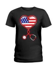 Patriotic Nurse USA Flag Shirt Nursing 4th July  Ladies T-Shirt thumbnail