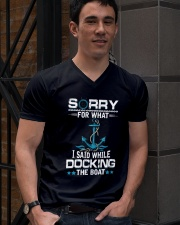 Boating Sorry For What Said While Docking The Boat V-Neck T-Shirt lifestyle-mens-vneck-front-2