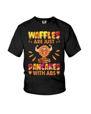 Waffles Are Just Pancakes With Abs Funny Youth T-Shirt front