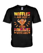 Waffles Are Just Pancakes With Abs Funny V-Neck T-Shirt tile