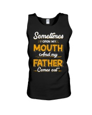 Sometimes I Open My Mouth and My Father Comes Out Unisex Tank thumbnail