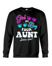 Womens Gender Reveal Girl or Boy Aunt loves you Crewneck Sweatshirt thumbnail