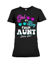 Womens Gender Reveal Girl or Boy Aunt loves you Premium Fit Ladies Tee thumbnail