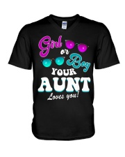 Womens Gender Reveal Girl or Boy Aunt loves you V-Neck T-Shirt thumbnail