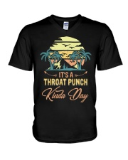 Vintage It's A Throat Punch Kinda Day Retro V-Neck T-Shirt thumbnail