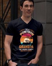 Mens Pontoon Grandpa Much Cooler Normal V-Neck T-Shirt lifestyle-mens-vneck-front-2