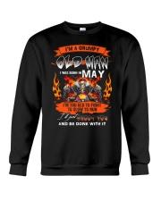 A Grumpy Old Man I Was Born In May I'm Old Biker Crewneck Sweatshirt thumbnail