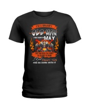 A Grumpy Old Man I Was Born In May I'm Old Biker Ladies T-Shirt thumbnail