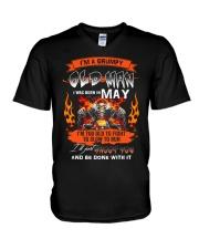 A Grumpy Old Man I Was Born In May I'm Old Biker V-Neck T-Shirt thumbnail