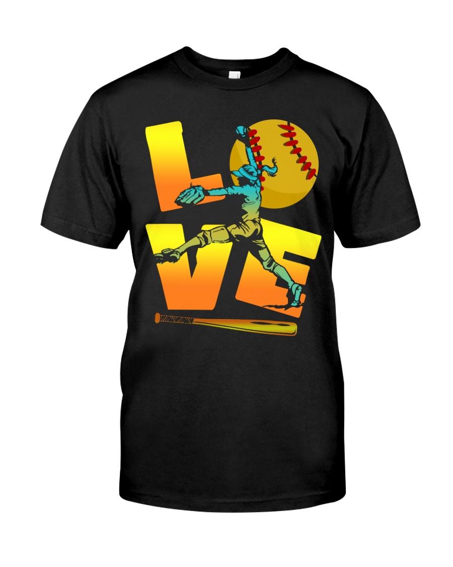 Cool LOVE Softball Tee Softball Lovers Girls Women Classic T-Shirt