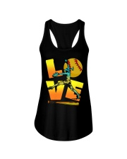 Cool LOVE Softball Tee Softball Lovers Girls Women Ladies Flowy Tank front