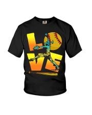 Cool LOVE Softball Tee Softball Lovers Girls Women Youth T-Shirt front