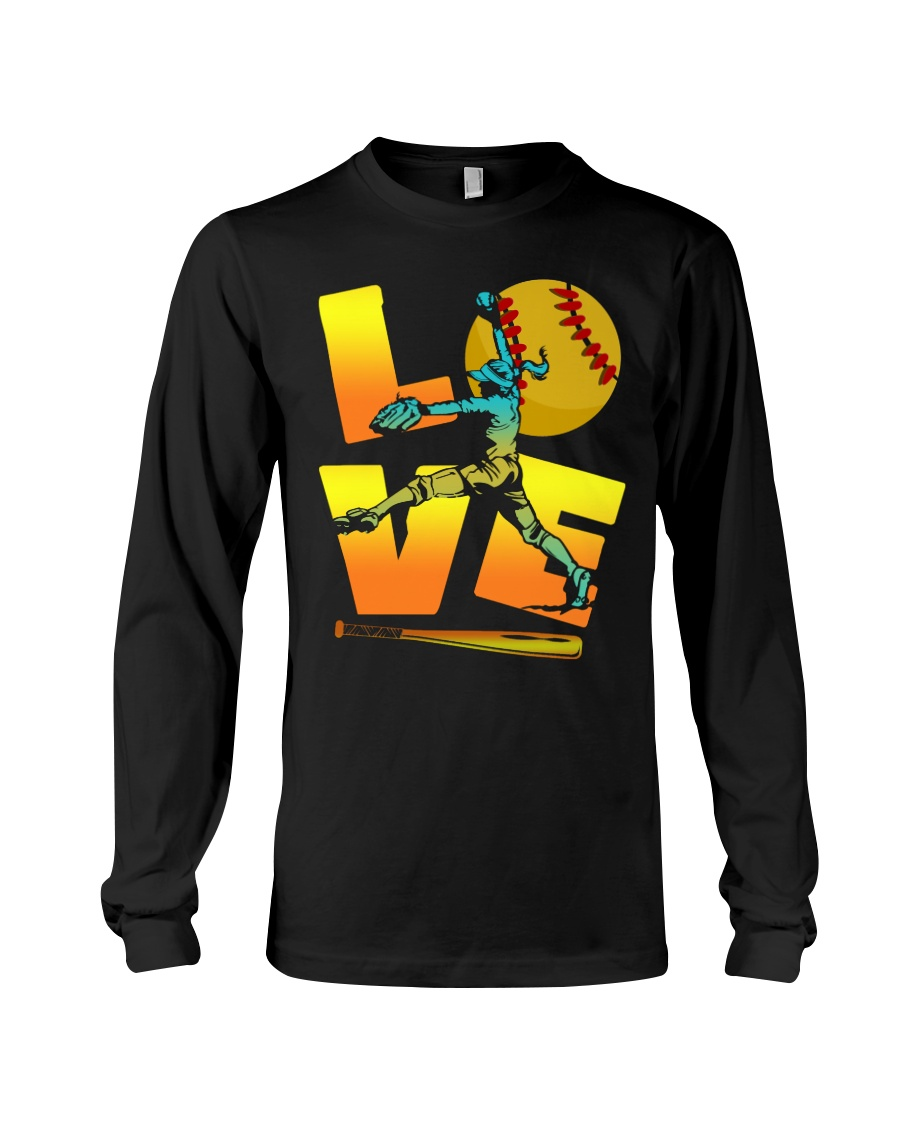 Cool LOVE Softball Tee Softball Lovers Girls Women Long Sleeve Tee