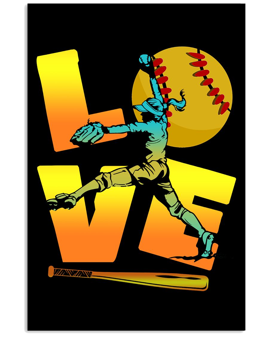 Cool LOVE Softball Tee Softball Lovers Girls Women 24x36 Poster