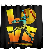 Cool LOVE Softball Tee Softball Lovers Girls Women Shower Curtain front