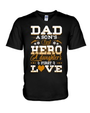 Dad Son's First Hero Daughter's First Love  V-Neck T-Shirt tile