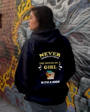 Never underestimate the power of a Girl Hooded Sweatshirt lifestyle-unisex-hoodie-back-1