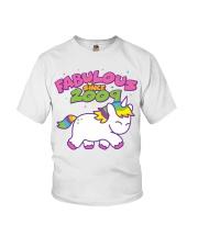Fabulous Since 2009 Birthday Unicorn T-Shirt Youth T-Shirt front