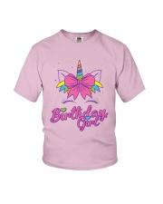 Cute Birthday Girl Unicorn T-Shirt Youth T-Shirt front
