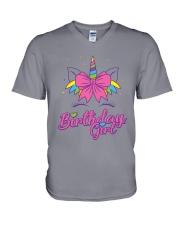Cute Birthday Girl Unicorn T-Shirt V-Neck T-Shirt thumbnail