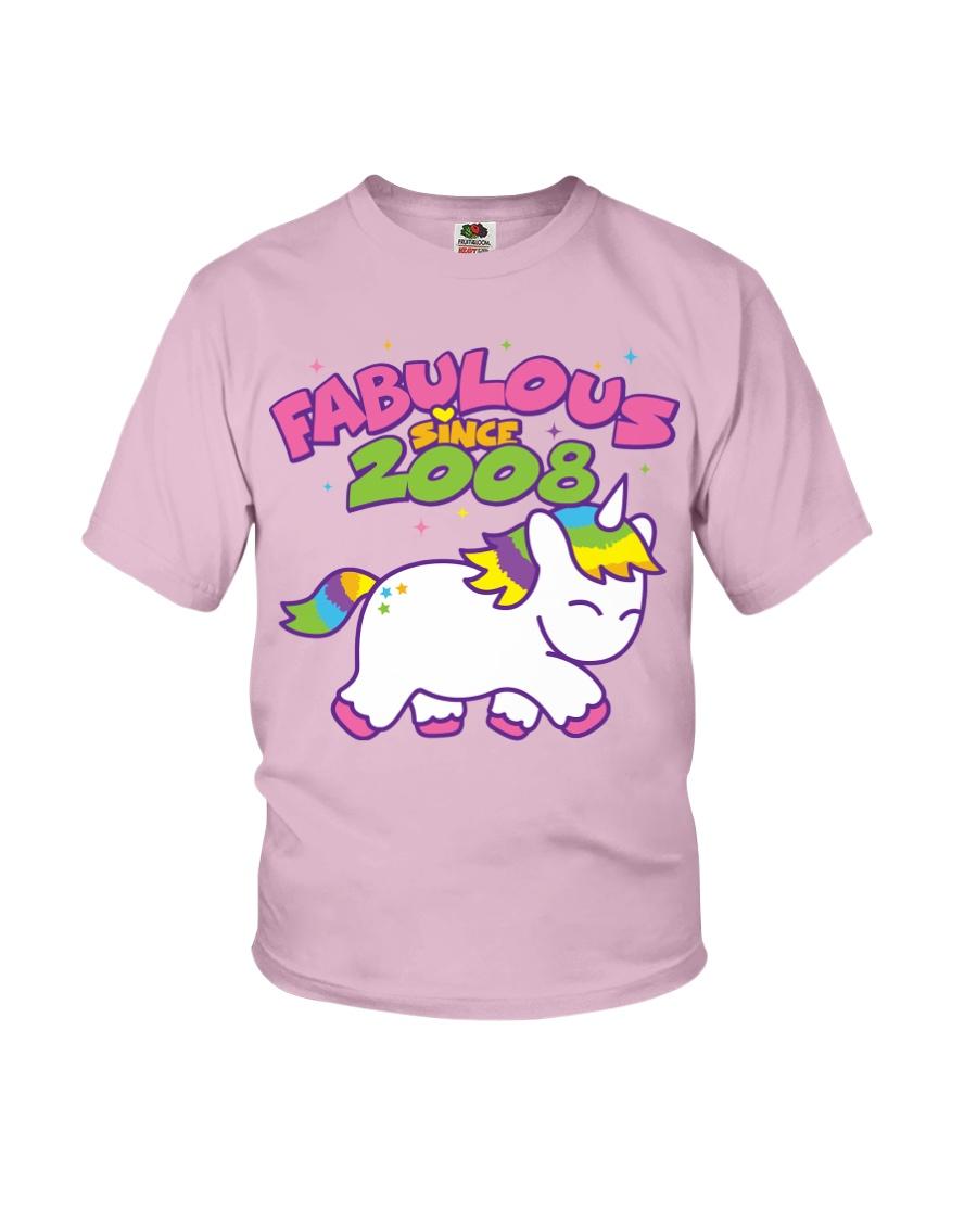 Fabulous Since 2008 Birthday Unicorn T-Shirt Youth T-Shirt