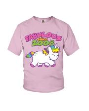 Fabulous Since 2008 Birthday Unicorn T-Shirt Youth T-Shirt front
