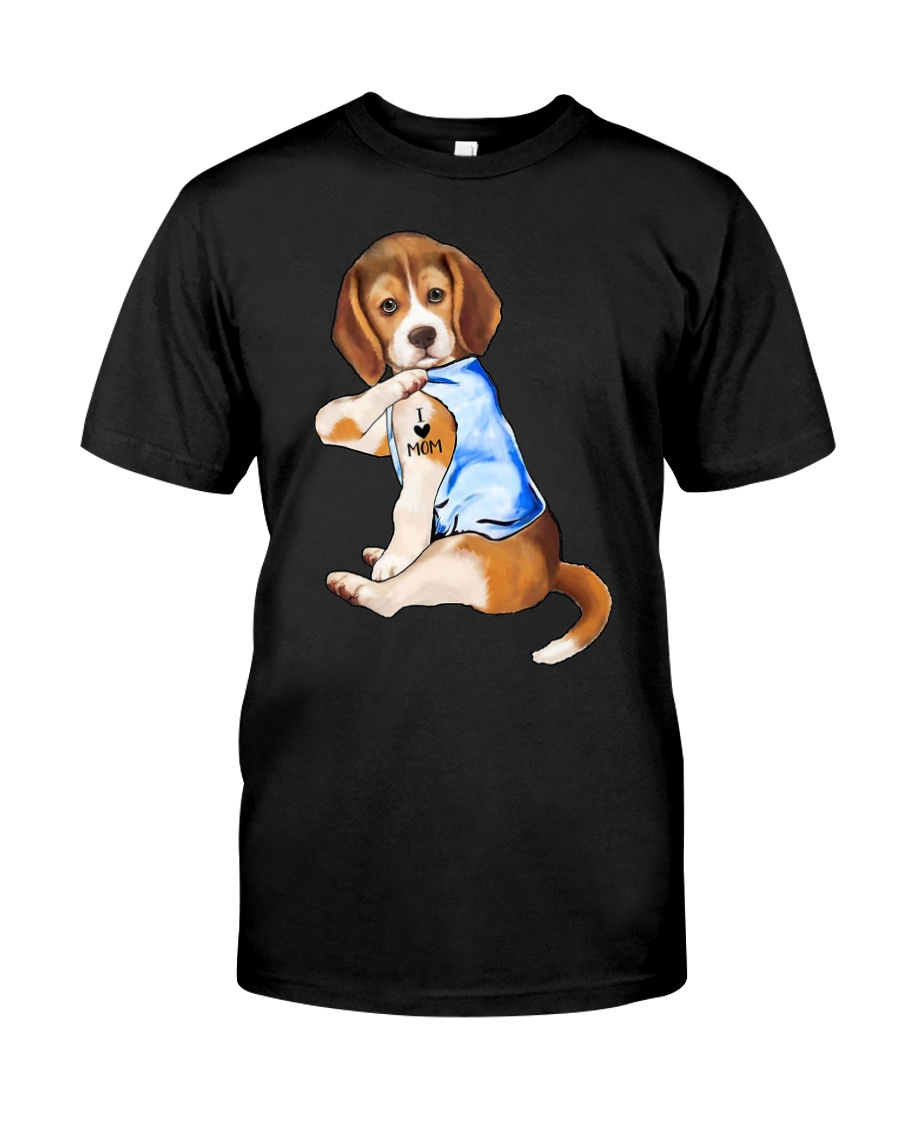 Gifts Beagle Dog Tattoo I Love Mom Shirt