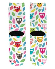 owl pattern Crew Length Socks back