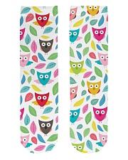 owl pattern Crew Length Socks front