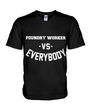 Foundry Worker Vs Everybody V-Neck T-Shirt thumbnail
