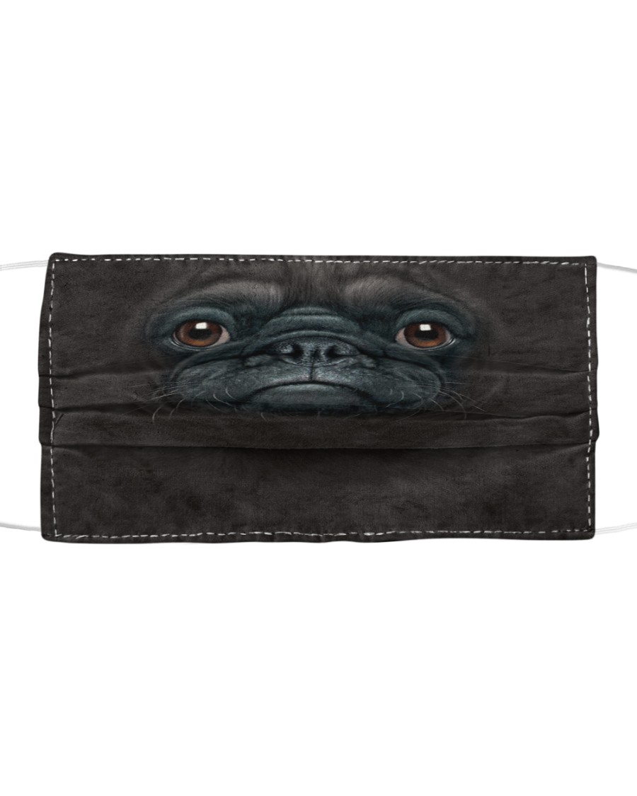 Pug Black Cloth face mask