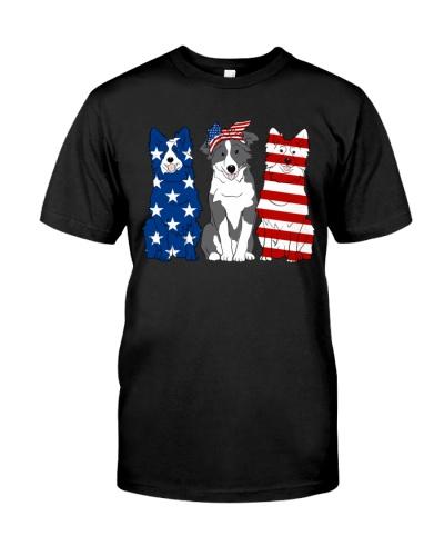 Border Collie American Flag